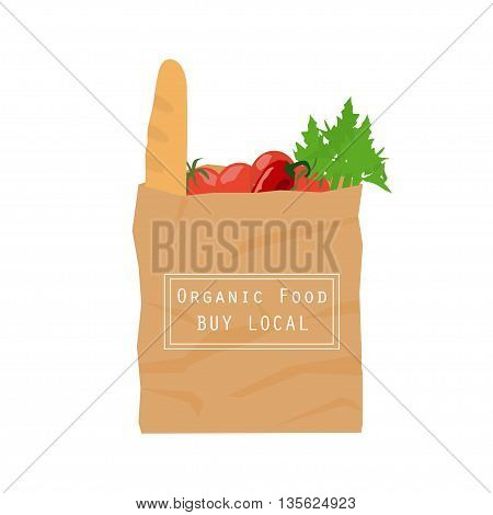Brown paper bag from local market. Recycled pack with fresh organic food. Healthy vegetables grown locally. Isolated vector illustration on nutrition and ecological mindset.