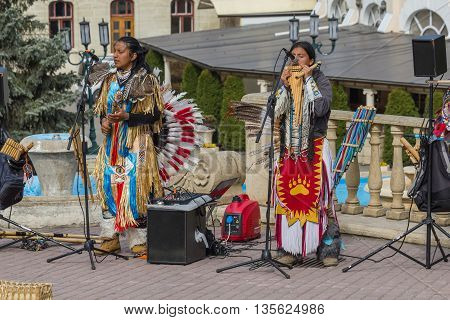 Street Musicians In National Costumes.