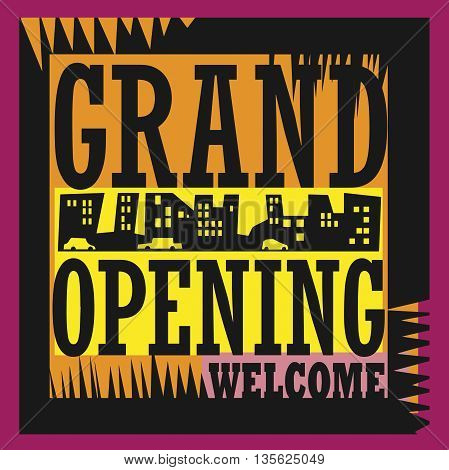 Abstract Grand Opening sign or symbol, vector illustration