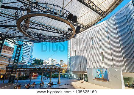 TOKYO JAPAN - NOVEMBER 28 2015: T.V. Asahi building situated on the opposite side of Mori tower building in Roppongi Hills
