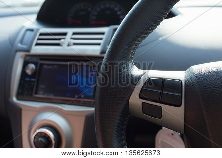blank control button on car steering wheel used for placed icon design