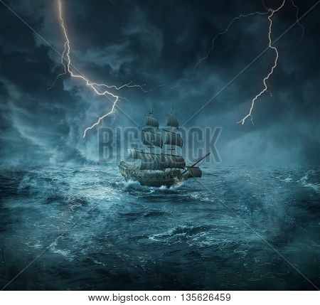 Vintage old ship sailing lost in the ocean in a stormy night with lightnings in the sky. Adventure and journey concept