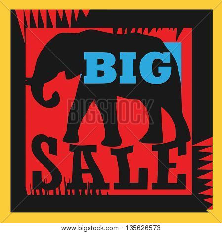 Big sale sign with elephant, vector illustration