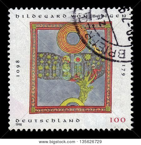 GERMANY - CIRCA 1998: a stamp printed in the Germany shows christian mystic, painting by Hildegard von Bingen (1098-1179), circa 1998