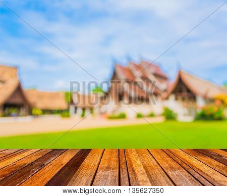 Blur Image Of Old Temple Made From Wood  In Chiang Mai Thailand.