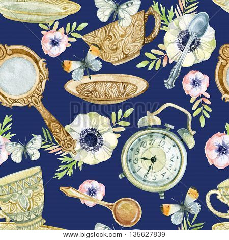 Watercolor tea seamless pattern. Watercolor tea cup background with spoon mirror alarm clock flowers and butterfly. Tea crockery in victorian style. Hand painted illustration for your design poster