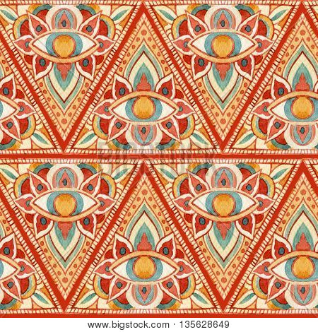 Watercolor all seeing eye symbol in pyramid seamless pattern. Ornate geometrical sacred background. Vintage hand painted All Seeing-Eye in natural colors on scarlet background