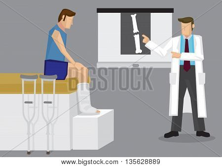 Orthopedic specialist explaining X-ray film with broken bone to patient with leg in plaster cast. Vector illustration on medical and orthopedic concept.