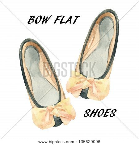 Watercolor bow flat shoes isolated on white background. Summer flat pumps shoes painting. Two toned leather pumps with nude color bow. Hand painted fashion art illustration with paper texture.