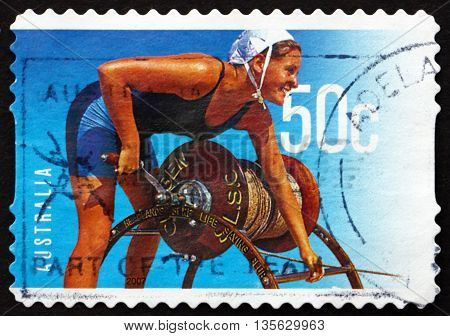 AUSTRALIA - CIRCA 2007: a stamp printed in the Australia shows Female Lifeguard Surf Life Saving Australia Centenary circa 2007