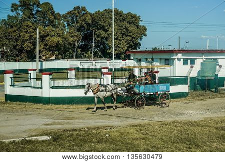 Trinidad Cuba - January 12 2016: Trinidad's residents still use horse-drawn carriages as the preferred vehicle. Cuba has one of lowest vehicle per capita rates in the world