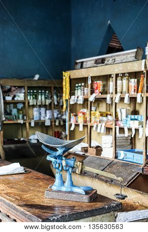 Trinidad Cuba - January 13 2016: shop with products for sale at government store bodega where ration cards are used