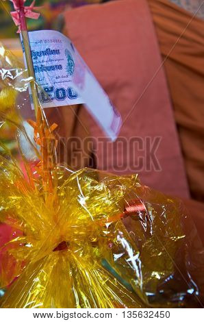thai money in someting for celebration priesthood