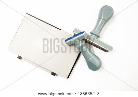 Ink pad and stamp the light background