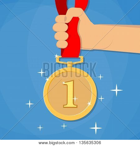 Hand holding golden medal champion prize winner reward. Business or sporting achievements, the championship winner. victory. Vector illustration in flat style on blue background