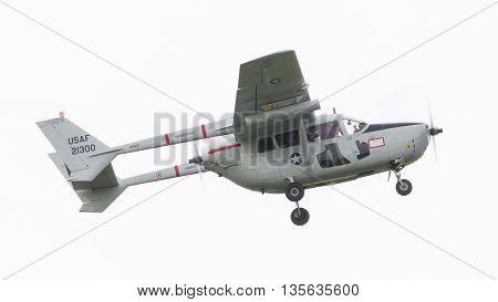 Leeuwarden, The Netherlands - June 11, 2016: Cessna O-2A Super Skymaster During A Demonstration At T