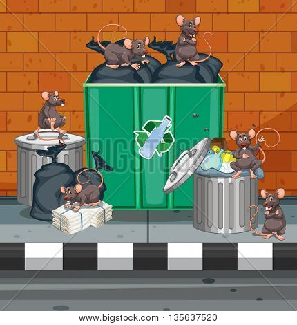 Dirty rats all over trashcans illustration