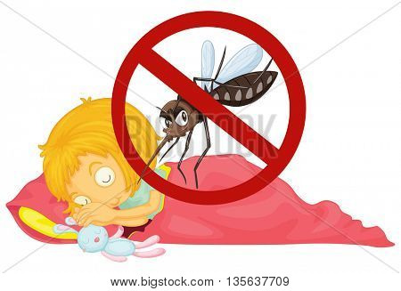 No mosquito while girl sleeping illustration