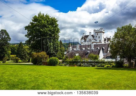 Perthshire Scotland - July 27 2012: Blair Atholl the Blair castle home of the Duke of Athool seen from the garden.