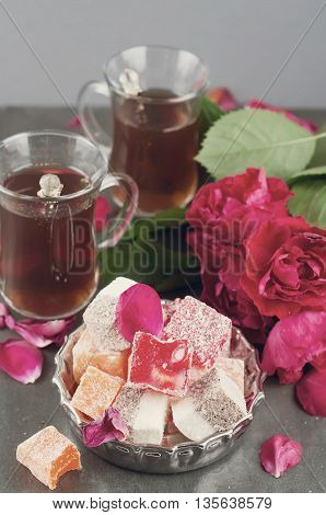 Glass Of Turkish Tea And Rahat Delight