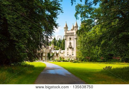 Aberdeenshire Scotland - July 27 2012: The Balmoral castle summer residence of the British Royal Family.