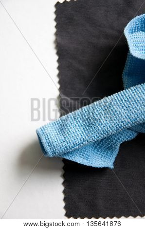 Surface of the lens cloth on white background