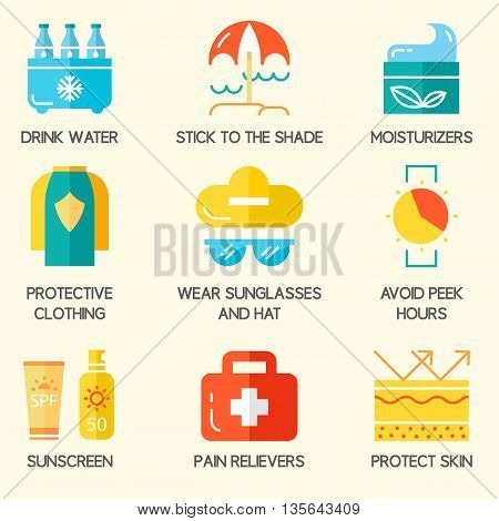 Sun and beach safety set. For web, infograhics, print. Cancer skin protection