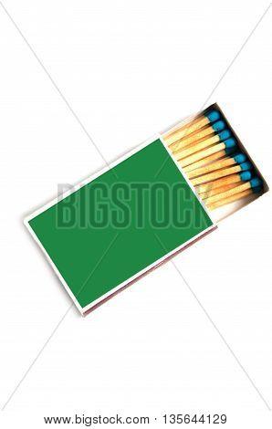 Close up of a match box on white background with clipping path