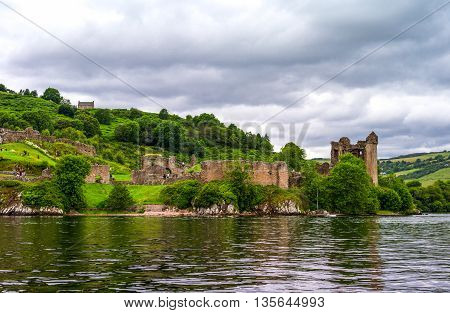 Great Britain Scotland Highlands view of ruins of Urquhart castle on the Loch Ness lake.