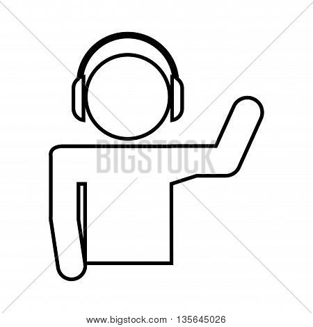disk jockey  silhouette isolated icon design, vector illustration  graphic