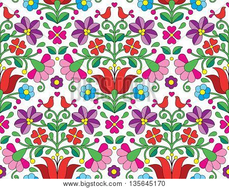 Kalocsai floral emrboidery seamless pattern - Hungarian folk art background