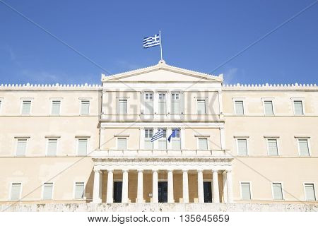 The Greek Parliament Building in Athens Greece