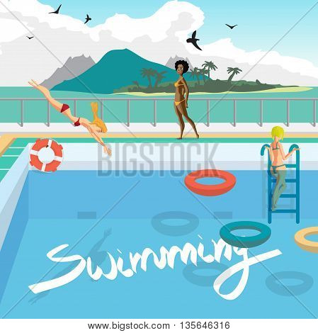 Outdoor swimming pool on the beach in the tropics. Women bathe, sunbathe, dive into the pool. Vector cartoon flat illustration.