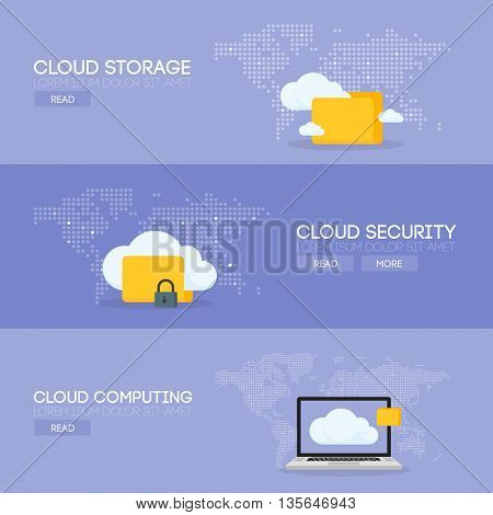 Cloud coputing storage service and security banner concept. Vector illustration.
