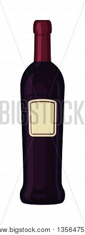 Bottle of wine drink alcohol beverage winery cabernet design vector illustration. Wine bottle elegance product, red wine bottle and bar drink. Merlot product champagne brand.