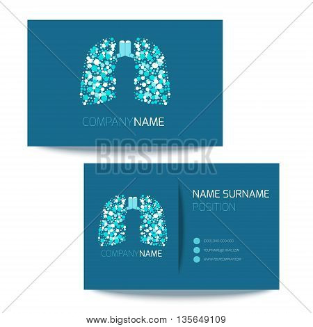 Medical business card template with inhalers and lungs filled with air bubbles. Vector lungs logo graphic design for pulmonary clinics and medical centers. Medical card corporate identity.