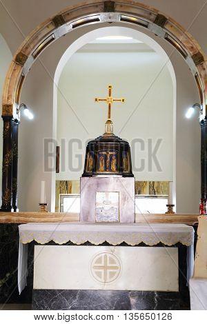 MOUNT BEATITUDES, ISRAEL - JANUARY 21, 2012: Church on Mount of Beatitudes. An interior.