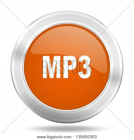 mp3 vector icon, metallic design internet button, web and mobile app illustration