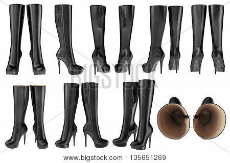 Set black shoes women's wellingtons leather zipper. 3D graphic