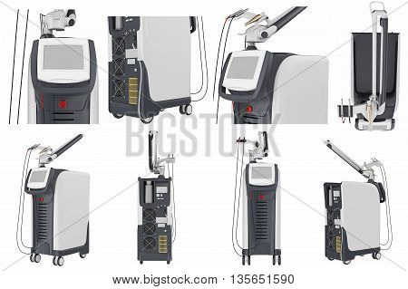Set medical laser device for treatment and beauty care. 3D graphic