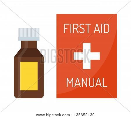 Vector illustration of first aid kit box medical emergency healthcare. Hospital first kit equipment and doctor case first aid kit. Safety accident bag first aid kit. Emergency medicine red box.