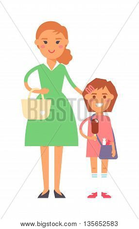 Mother and daughter female together lifestyle love adult beautiful young mom. Parent happiness mother and smiling daughter family characters. Mother and daughter little casual fun two attractive girl.