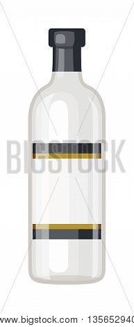 Vodka bottle vector illustration. Alcohol vodka bottle beverage transparent object. Drink bar cocktail alcoholic clear vodka bottle. Restaurant shape russian party strong water bottle.