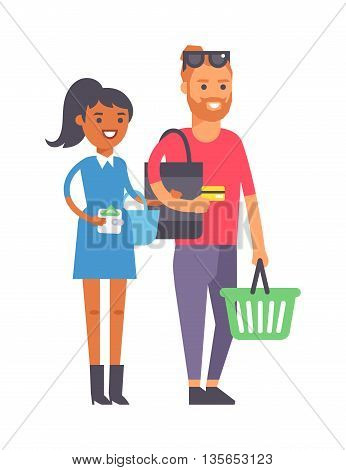 Adult couple doing shopping vector illustration. Buying happiness customer casual two shopping couple people. Happy beautiful young shopping couple indoors romance shopaholic family