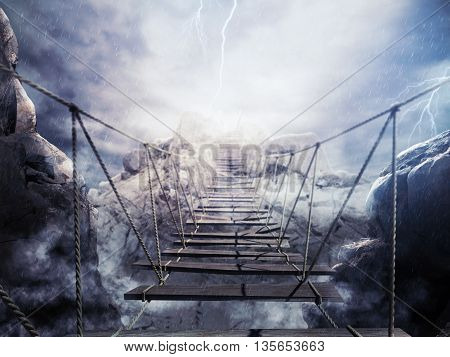 3D Rendering of bridge collapsing during a thunderstorm