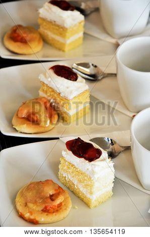 cake strawberry for coffee break in hotel