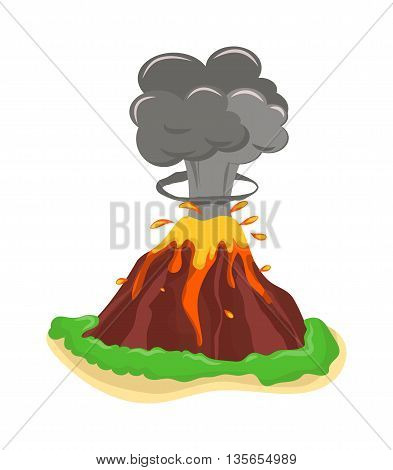 Volcano eruption stromboli with spectacular eruptions. Eruption crater mountain volcano hot natural eruption nature. Volcano erupt ash fire hill landscape outdoor geology eruption exploding ash. poster