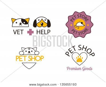 Logo for pet shop or animal clinic pet shop logo. Pet shop logo design veterinary, cat symbol isolated silhouette care puppy label. Pet shop logo creative animal company emblem set.