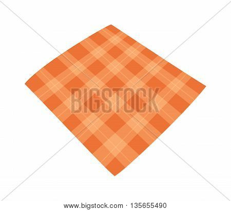 Ffolded tablecloth isolated on white. Tablecloth background seamless pattern.Illustration of traditional gingham dining cloth with fabric texture. Checkered picnic cooking tablecloth.