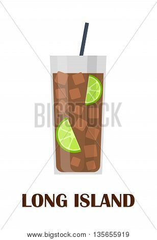 Long island iced tea cocktail isolated. Ice glass alcohol drink long island cocktail. Tea cold lemon long island cocktail. Refreshment beverage party iced restaurant summer cold drink.